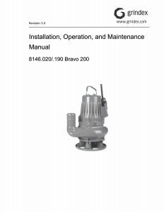 IOM Manual for Grindex Bravo 200 Slurry Pump