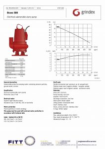 Data Sheet for Grindex Bravo 300 Submersible Mining Pump