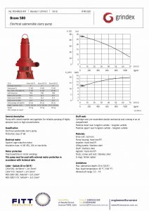 Data Sheet for Grindex Bravo 500 Electrical Submersible Slurry Pump
