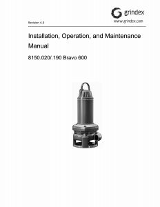 IOM Manual for Grindex Bravo 600 Slurry Pump