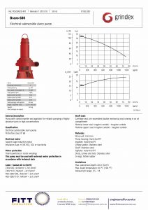 Data Sheet for Grindex Bravo 600 Submersible Slurry Mining Pump