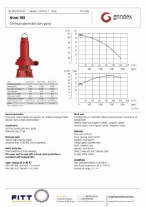 Data Sheet for Grindex Bravo 700 Electrical Slurry Pump