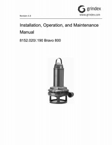 IOM Manual for Grindex Bravo 800 Electrical Submersible Slurry Pump