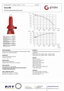 Data Sheet for Grindex Bravo 800 Submersible Dewatering Mining Pump