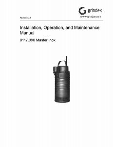 IOM Manual for Grindex Master Inox Drainage Pump