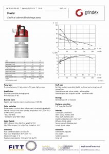 Data Sheet for Grindex Master Submersible Drainage Pump