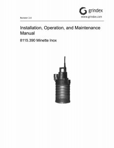 IOM Manual for Grindex Minette Inox Drainage Pump