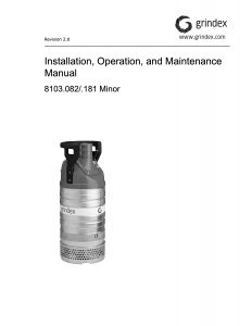 Grindex Minor Pump IOM Manual Australia