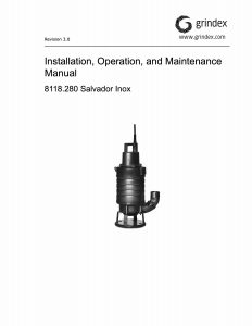 IOM Manual for Grindex Salvador Inox Sludge Pump