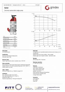 Data Sheet for Grindex Senior Electrical Submersible Sludge Pump