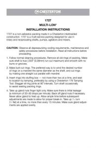 Installation Instructions Chesterton 1727 Multi-Lo