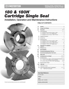 Installation Instructions Chesterton 180 and 180H Cartridge Single Seal
