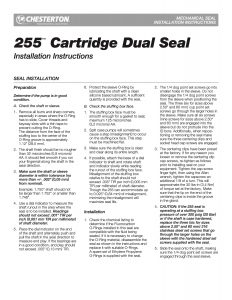 Installation Instructions Chesterton 255 Cartridge Dual Seal