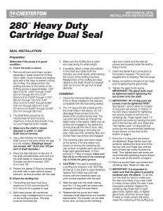 Installation Instructions Chesterton 280 Heavy Duty Cartridge Dual Seal