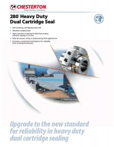 Data Sheet Chesterton 280 Heavy Duty Dual Cartridge Seal