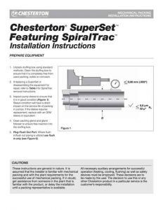 Installation Instructions Chesterton SuperSet